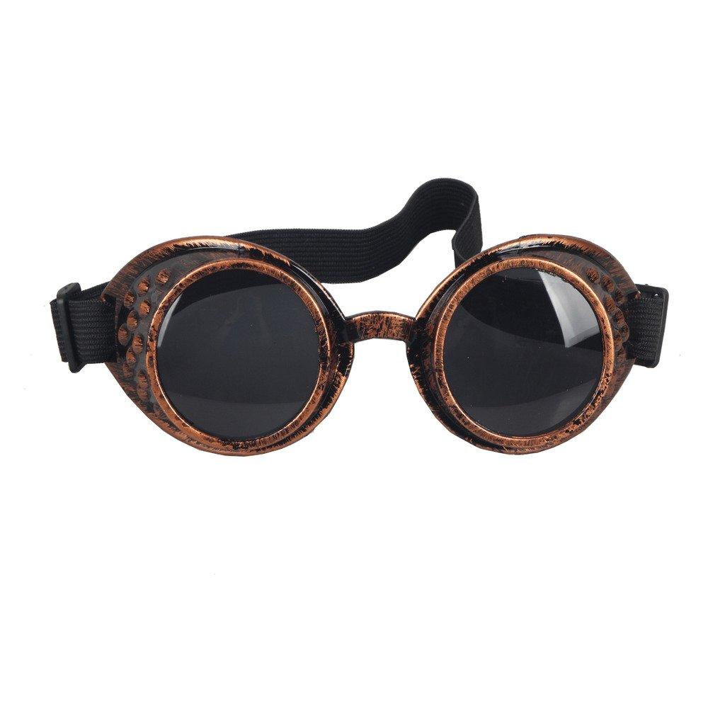 DODOING Brillen Weinlese-Art Steampunk Goggles Welding Punk Vintage Brille Cosplay MG007-R-BL-CN-DEAA