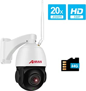 【With Audio】5MP Wireless Indoor Outdoor PTZ Home Security HD Camera with 20X Optical Zoom,WiFi Surveillance Dome Camera Built-in 64GB Micro SD Card, IP66 Waterproof,Remote Access,355°Pan 90°Tilt ANRAN