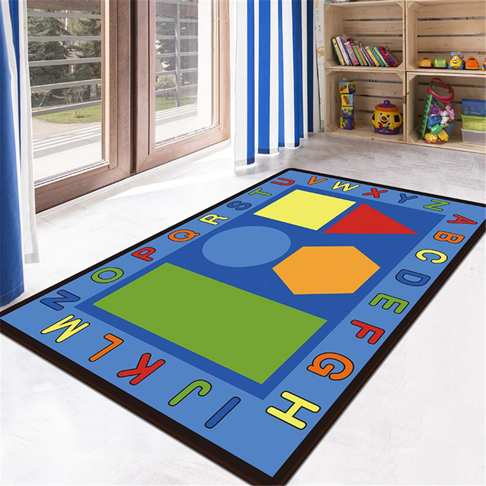 Non-skid Vibrant Children Football Play Mat 311x52, A Pink House Educational Kids Area Rug LISIBOOO for Girl Boy Playroom Bedroom Living Room Nursery Alphabet ABC Numbers Shape Large Carpet