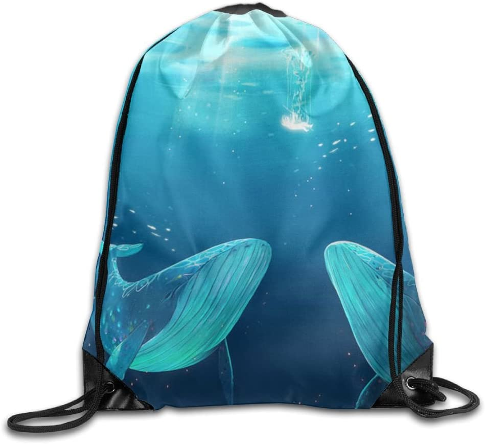 Blue Whale Drawstring Backpack Rucksack Shoulder Bags Training Gym Sack For Man And Women