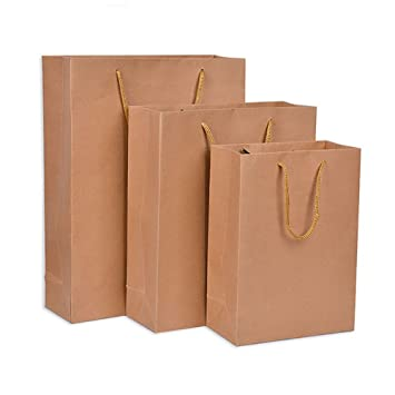 10pcs marrón Kraft bolsa de papel con asas de transporte de ...