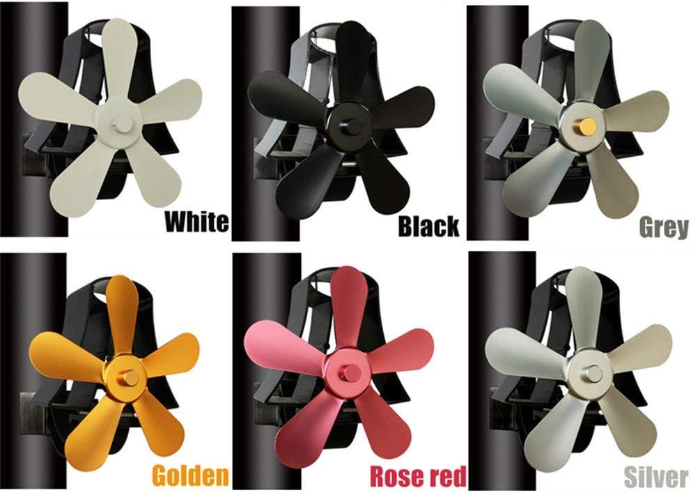 Sin Poder Ventilador Quemador para Chimenea Estufas De Leña Hornos con 5 Palas Operado por Calor Y Ahorro De Energía para Una Distribución Eficiente del Calor - 6 Colores Disponibles