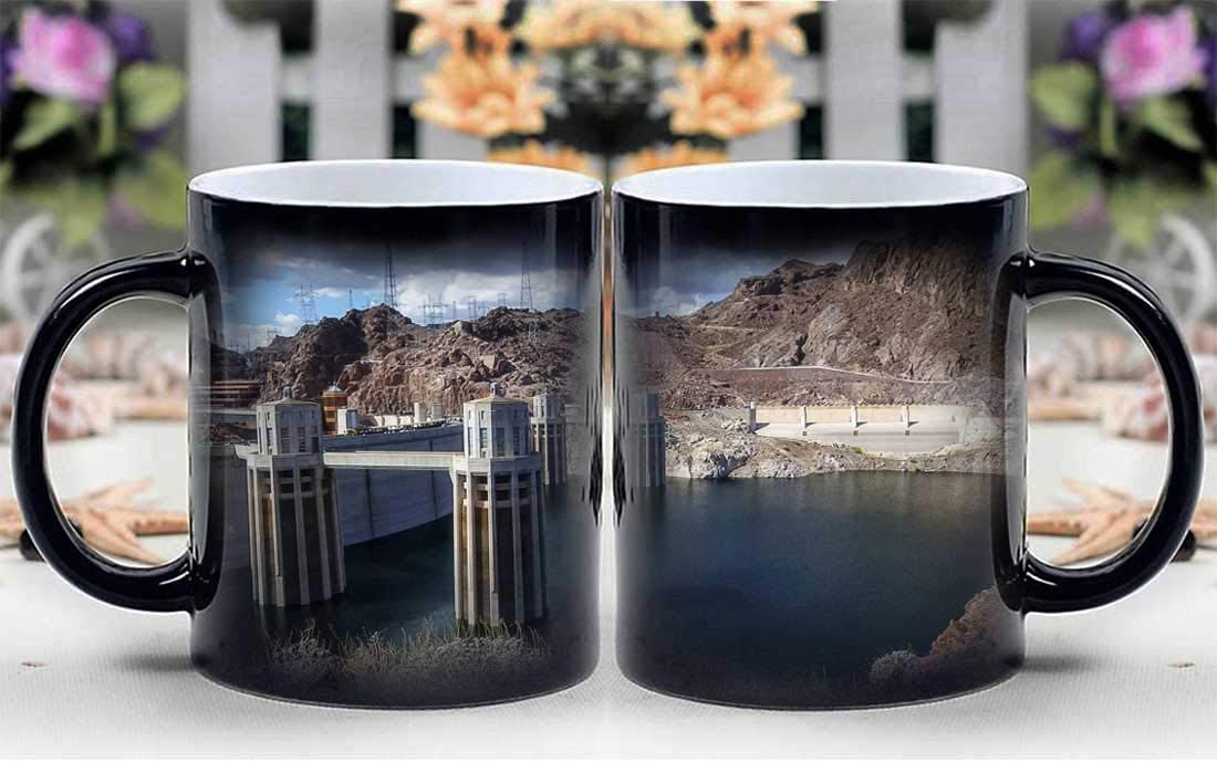 Amymami Personalized Gifts Heat Changing Magic Coffee Mug - Lake Mead Reservoir Hoover Dam Nevada Concrete