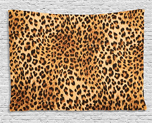 Ambesonne Animal Print Decor Collection, Wild Animal Leopard Skin Pattern Wildlife Inspired Stylish Modern Illustration, Bedroom Living Room Dorm Wall Hanging Tapestry, 60W X 40L Inch, Brown -