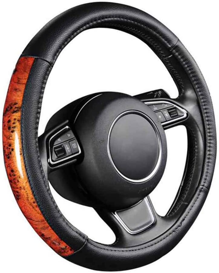 ZYHW Car Steering Wheel Cover Universal 15 Inch Middle Size Auto Anti-Slip Leather Wheel Protector with Wood Grain Design Gray Style A