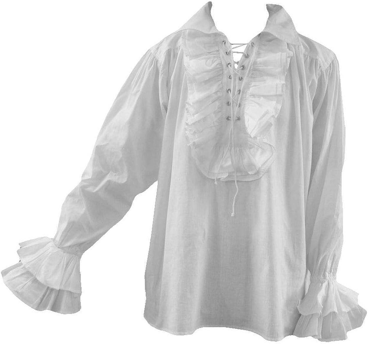 Camisa gótica para hombre, diseño de pirata con volantes, talla S, M, 3XL, color blanco y negro: Amazon.es: Ropa y accesorios