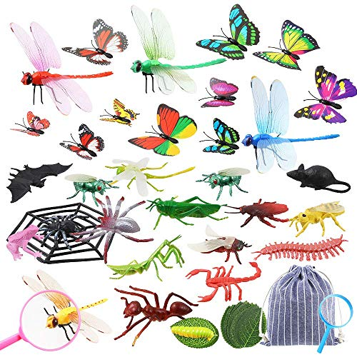 Auihiay 34 Pack Plastic Insect Figures Kit Includes Assorted Bugs, Lifelike Butterfly, Dragonfly, Magnifying Glass and Leaves for Children Education Insect Themed Party