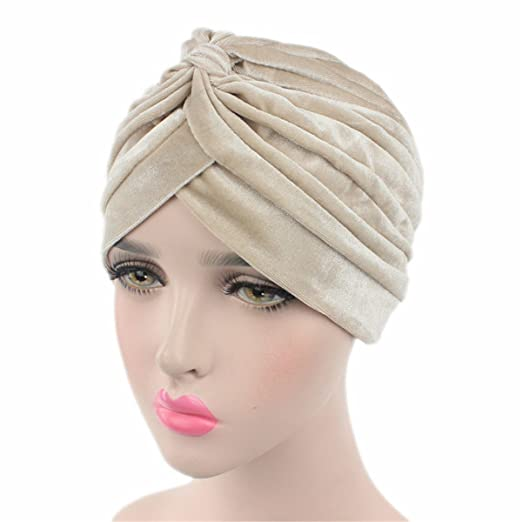 Qhome Luxury Soft Velvet Turban Velour Hair Cover Headwrap Hijab Hat