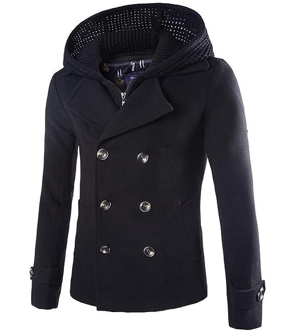 Cloudstyle - Cazadora para hombre, algodón y poliéster, con falsa capucha de tricot a 2 piezas: Amazon.es: Ropa y accesorios