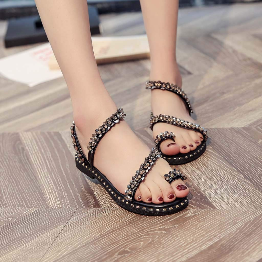 Lurryly Women Ladies Fashion Crystal Bling Round Toe Flat Casual Loafers Sandals Shoes