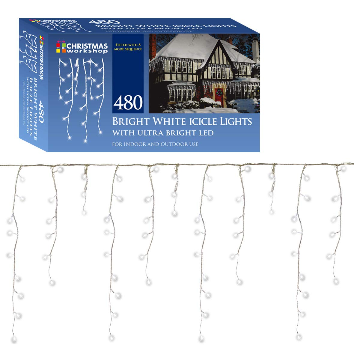 Christmas Workshop 77520 480 LED Icicle Chaser Lights - Bright White ...