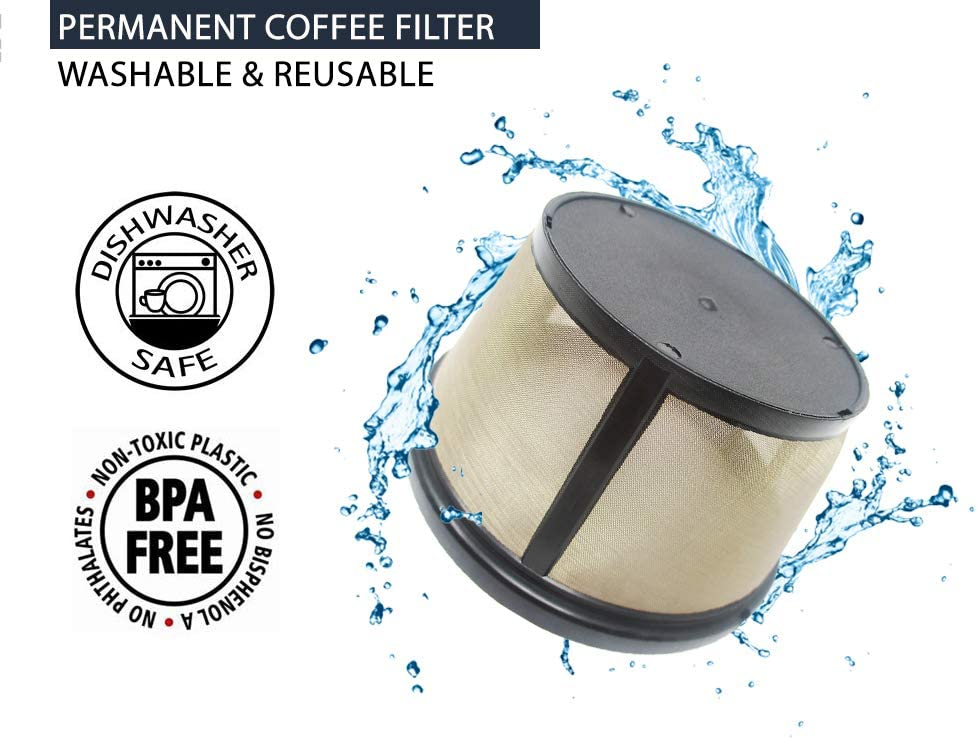 Coffee Coffee Maker and Brewer Coffee Basket-Style Coffee Filter /& Set of 12 Water Filters for Mr Teklectric 8-12 Cup Permanent Mr