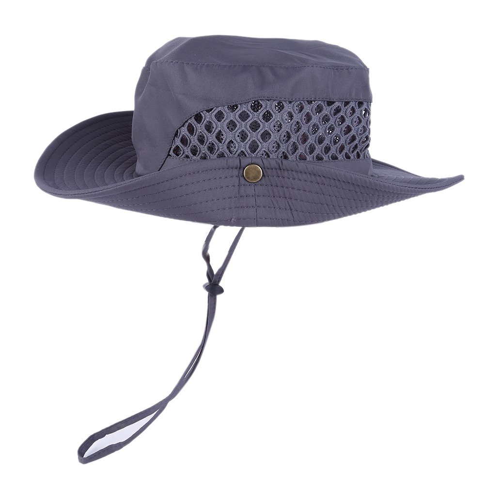 a16910c75a7 Amazon.com   Loveble Men s Sun Hat Summer Fishman Hat Adjustable Cap Rope  Mesh Bucket Hat Hiking Outdoor Sun Protection Cap   Garden   Outdoor