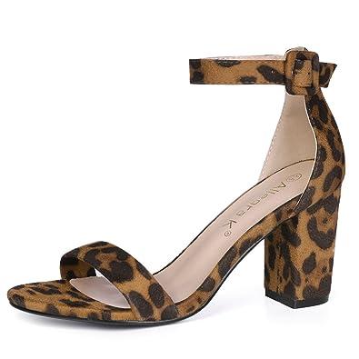 7317e24eef9 Allegra K Women s Ankle Strap Block Heel Leopard Brown Sandals - 5 ...
