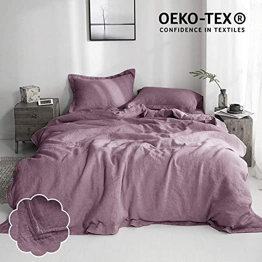 Simple/&Opulence 100/% Stone Washed Linen Embroidered Thread 3 pcs Duvet Cover Set