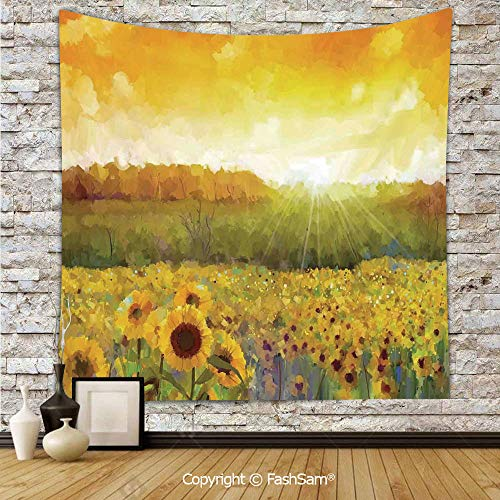 (Tapestry Wall Hanging Landscape Art with A Golden Sunflower Field and Distant Hill at Sunset Warm Colors Tapestries Dorm Living Room)