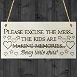 Red Ocean Please Excuse The Mess The Kids Are Making Memories Novelty Wooden Hanging Plaque Parents Gift Sign by Red Ocean