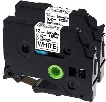 Black on White Label Tape 12mm For Brother PT-D400 PT-D400AD PT-E500 PT-D600