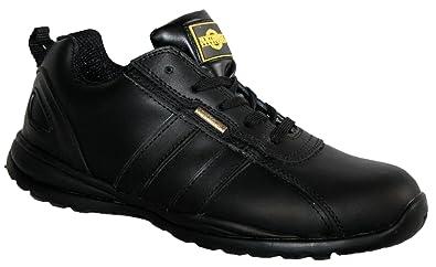 OTTAWA Damen Sicherheit Stahlkappe Leichte Schnürschuh Arbeit Schuh Trainer,schwarze Velourslederoptik,37 EU/3 UK