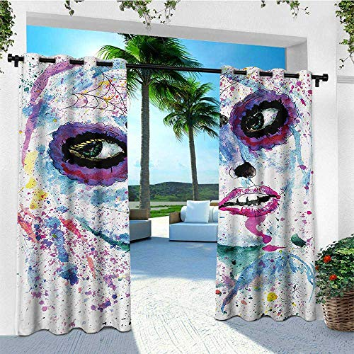 leinuoyi Girls, Outdoor Curtain Ends, Grunge Halloween Lady with Sugar Skull Make Up Creepy Dead Face Gothic Woman Artsy, Fabric by The Yard W96 x L108 Inch Blue -
