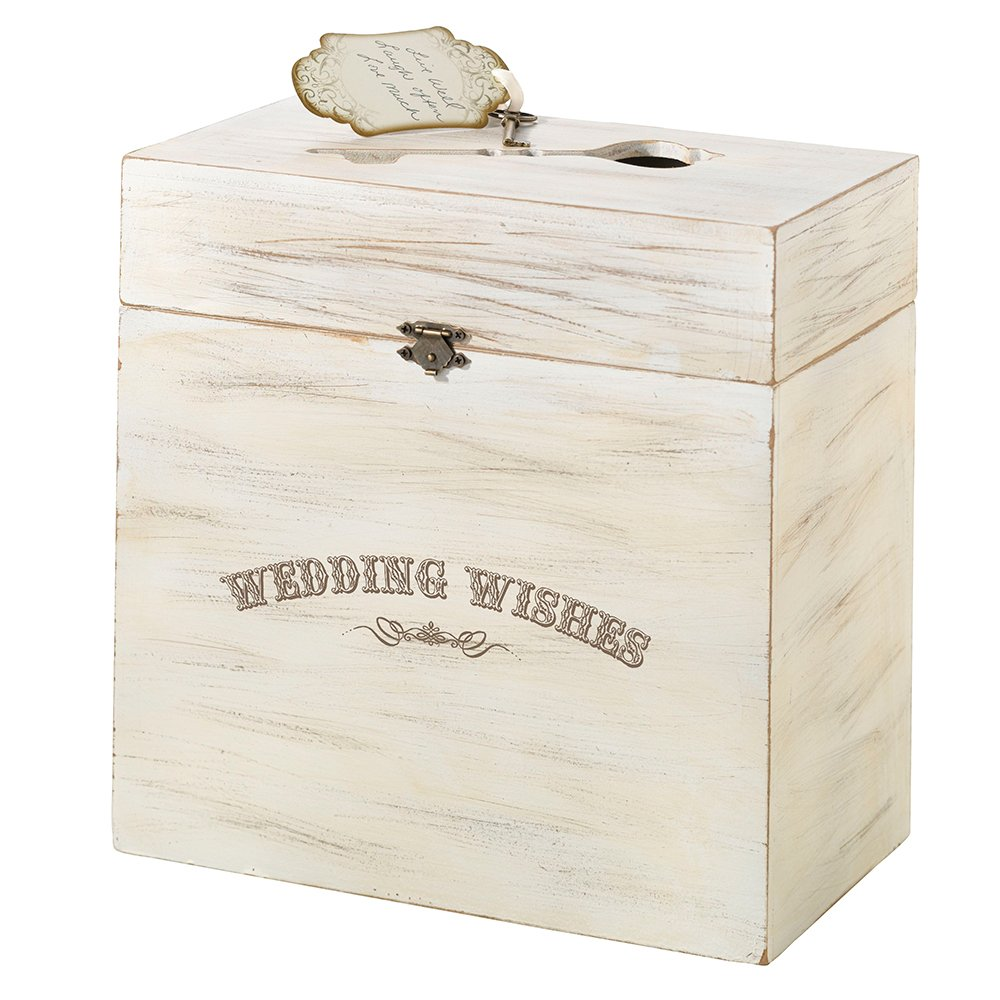 Lillian Rose GA371 W White Wood Wedding Wishes Key Card Box, Measures 10'' x 10'' x 5.25'', Rustic Ivory