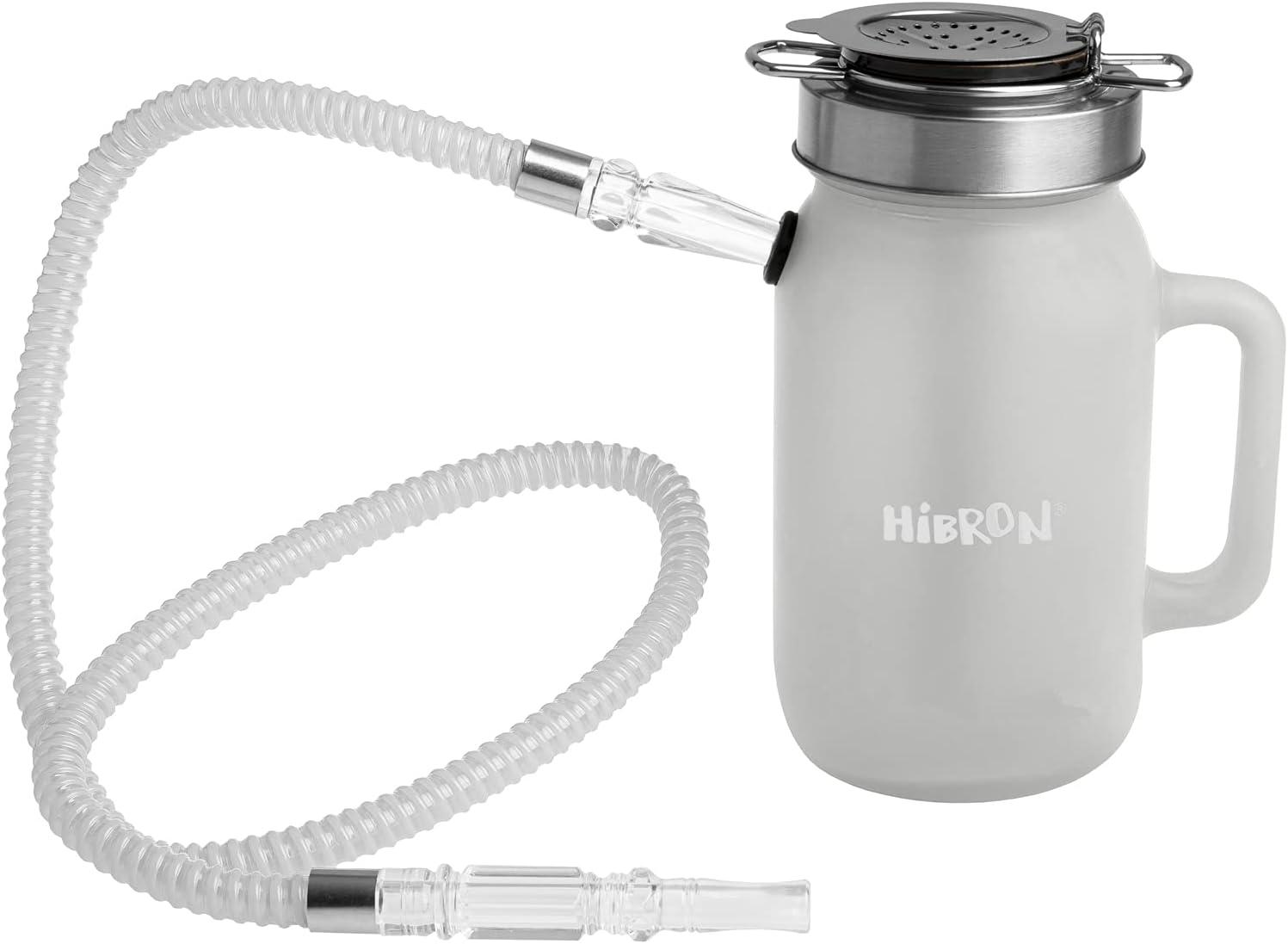 HIBRON Cachimba Pequeña 19cm Premium Kit Completo, con 1 Manguera y Base de Cristal Opaco