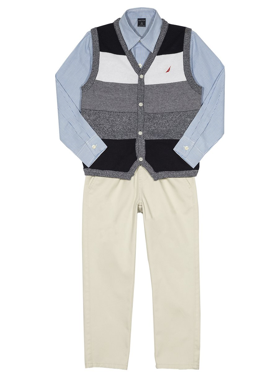 Nautica Boys' Toddler Three Piece Set with Sweater, Woven Shirt, and Twill Pant, Sport Navy Vest, 4T