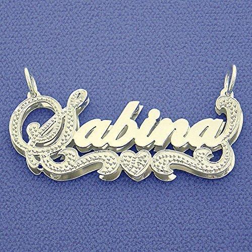 Silver 3D Double Plates Diamond Accent Script Nameplate Pendant Personalized (Diamond Accent Name Necklace)
