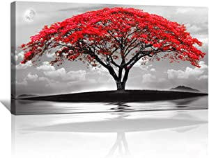 canvas wall art for living room bathroom Wall Decor Black and white landscape red tree moon scenery Hang painting Home Decorations for office bedroom kitchen Works canvas Prints pictures 24