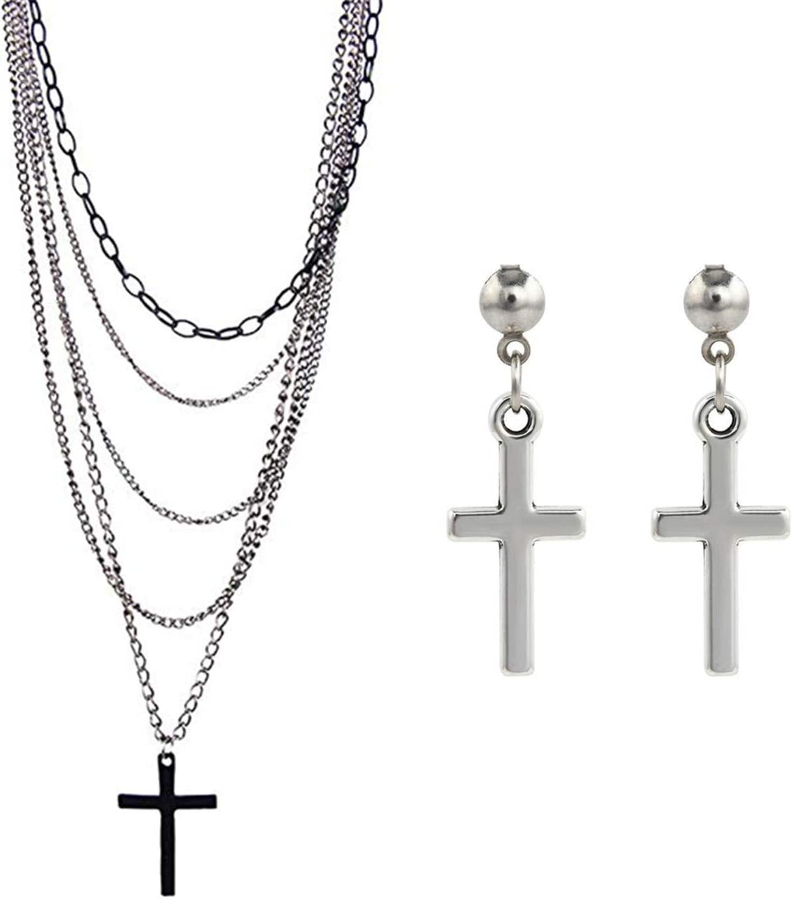 PPX Multilayer Gothic Retro 80s Black Long Chain Fashion Cross Necklace and Stainless Steel Dangling Cross Earrings for Men Women-with Storage Box