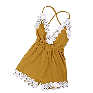 Amazon.com: Baby Girls Halter One Piece Lace Romper Jumpsuit Sunsuit ...