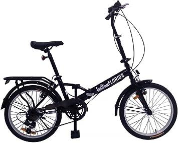 20 pulgadas bicicleta plegable Florida con portaequipajes, bolsa y LED Iluminación, negro