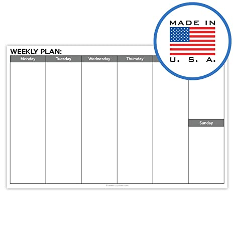 graphic about Blank Weekly Planner identified as 321Finished Blank 7 days Developing Pad Landscape - 50 Sheets (8.5\