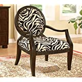 ADF Accent Chair with Zebra Print in Black Finish