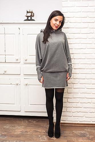 Damen Sportlich Elegant Kleid Farbe Grau Damen Kleid Lange ärmel