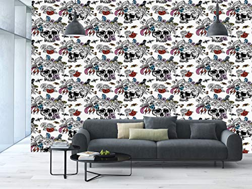 Vintage Rose Wallpaper - Large Wall Mural Sticker [ Day Of The Dead Decor,Sugar Skull with Flowers Pattern Vintage Rose Bouquet and Bees Print,Multicolor ] Self-adhesive Vinyl Wallpaper / Removable Modern Decorating Wall Art