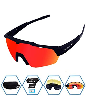 ddfe91ab84a GIEADUN Sports Sunglasses Protection Cycling Glasses with 4 Interchangeable  Lenses Polarized UV400 for Cycling