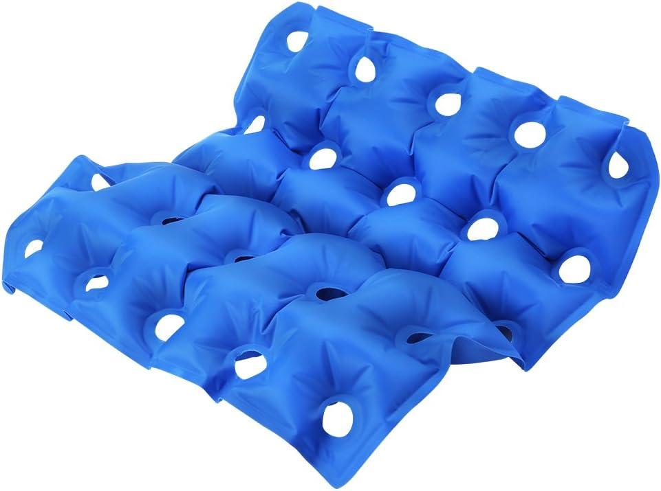 El cojín inflable portátil del asiento, antiescaras previene el decúbito Colchón ergonómico del asiento ergonómico para la silla de ruedas médica, silla de oficina, coche, etc.Azul