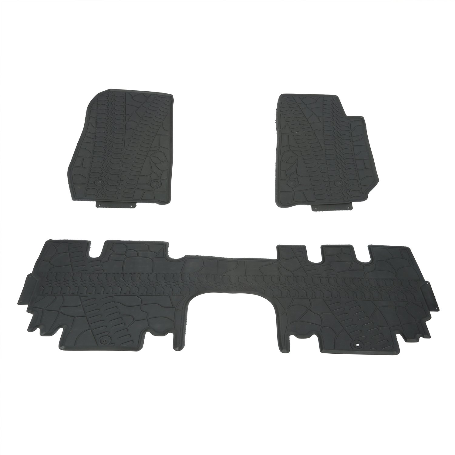 Hooke Road Jeep Wrangler Floor Mat 3-Piece Black Rubber Slush All-Weather Front /& Rear Liner Carpets for 2011-2018 Wrangler JK 4-Door