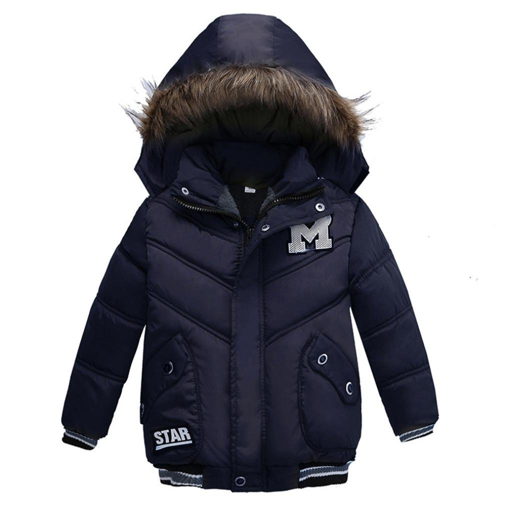 fbR8wawOKPHoYL9 Kid's Spring Lightweight Puffer Jacket Boy's Girl's Down Jacket, Kids Coat Boys Girls Thick Coat Jacket Clothes (Dark Blue, 90)