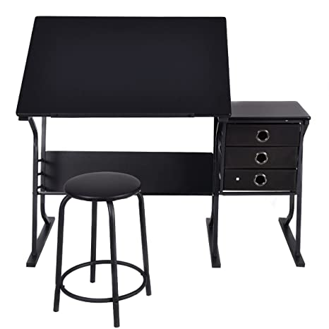 Wondrous Amazon Com Lhone Black Adjustable Drafting Draft Desk Creativecarmelina Interior Chair Design Creativecarmelinacom