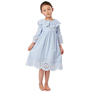 9ceb1d3a1e7ee Toddlers Little Girls Kids Spring Summer Vintage Embroidered Trim Frill  Collar Pinstriped Cotton Dress 3-8 Years