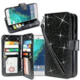 Cheap LG Stylo 3 Case, LG Stylo 3 Plus Case, Linkertech Glitter Shiny Luxury PU Leather Flip Pouch Wallet Case with 12 Card Slots and Wrist Strap for LG Stylo 3 / Stylo 3 Plus / LS777 (Glitter Black)