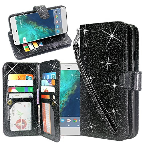ZTE Blade X Case (Cricket), Linkertech Glitter Shiny Luxury PU Leather Flip Pouch Wallet Case Cover with 12 Card Slots and Wrist Strap for ZTE Blade X Z965 (Cricket Wireless) (Glitter Black) (Glitter X 12)
