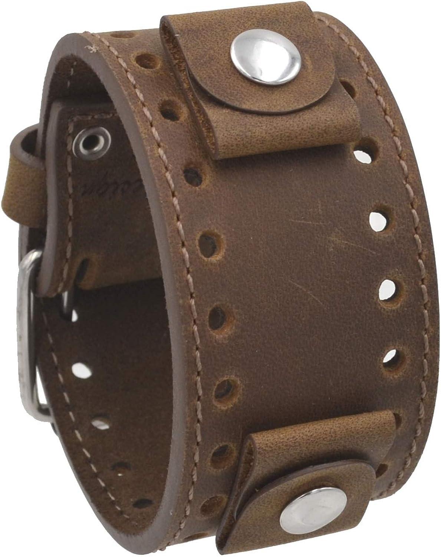 REV Crazy Horse Leather Strap 20mm -22mm Lug Width Wide Tan Moro Brown Cuff Watch Band CHO-TM