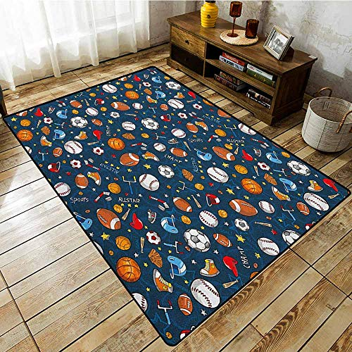 Hallway Rug,Sport,Many Basketball Baseball and Football Icons Champ Gloves Dark Background,Ideal Gift for Children,4'7