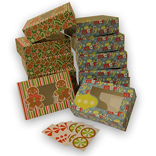 Christmas Cookie gift boxes; rectangular with clear window; colorful paperboard with holiday designs; set of 12 with 12 stickers for sealing (Ornaments & Gingerbread) (Gift Cookies Christmas Boxes)