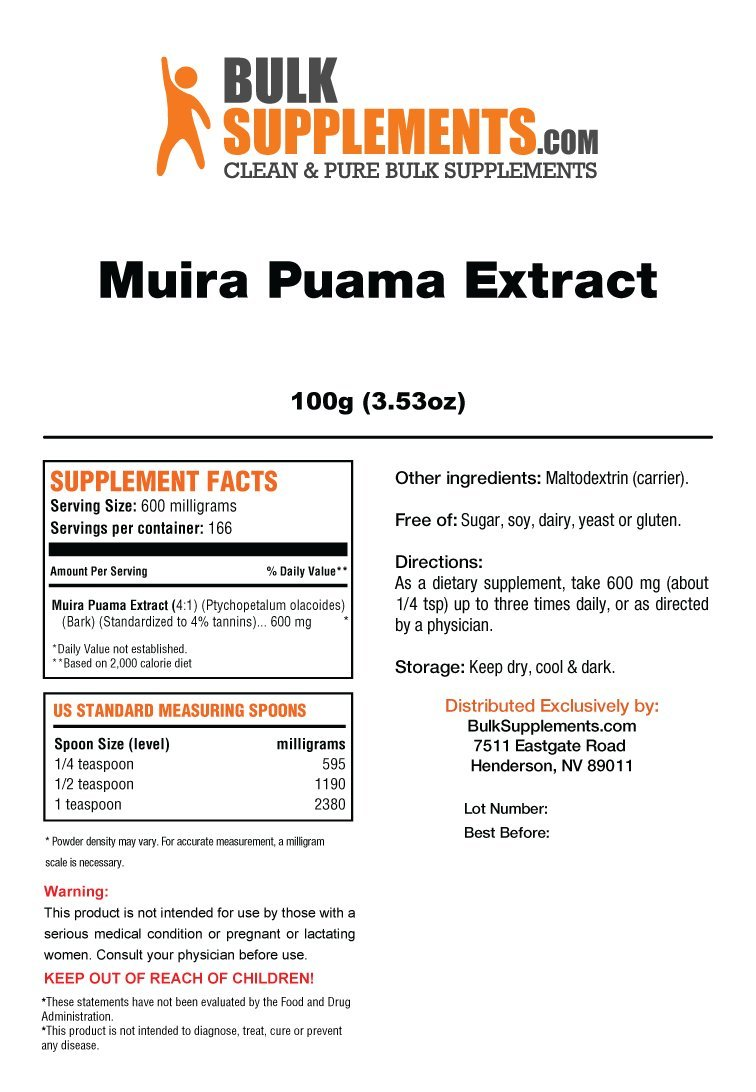 Muira Puama Extract by Bulksupplements (100 Grams) by BulkSupplements (Image #2)