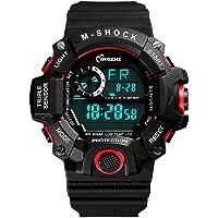 chezabbey Hombres 'S Deportes de los relojes digitales LED resistente al agua muñeca reloj tiempo de Anti-Shock semana Fecha visualización + Militar/12/24Horas