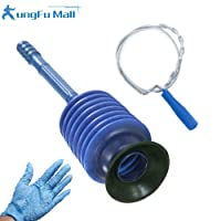 Ungfu Mall Toilet Plunger and Flexible Drain & Waste Pipe Unblocker for Bath Tubs,Sink,Toilet with a gift glove